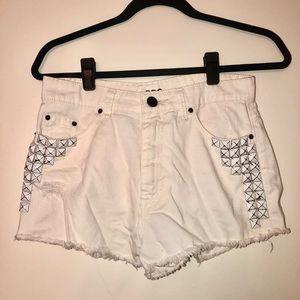 BDG high waisted white studded denim shorts